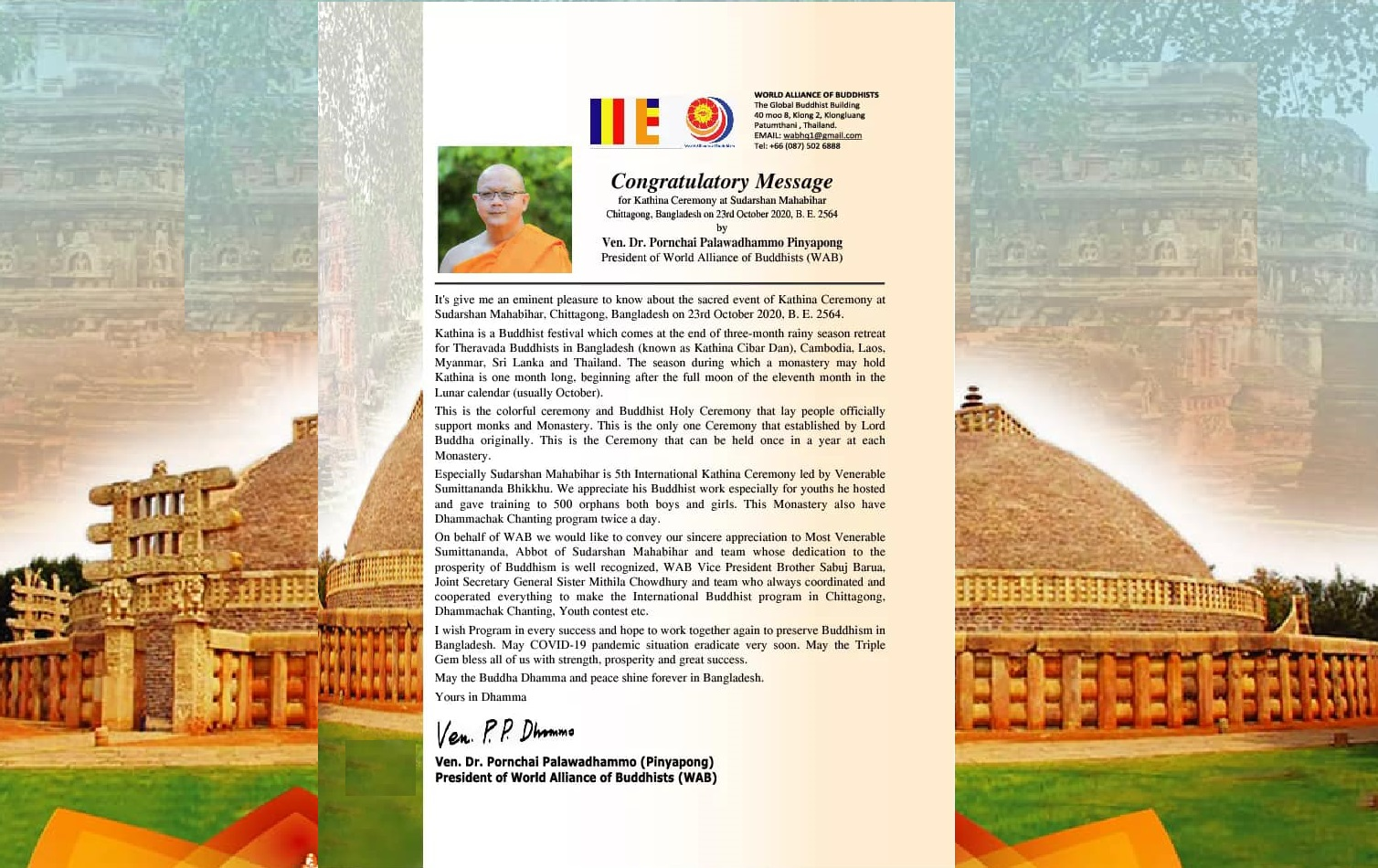 Congratulatory Message: Ven. Dr. Pornchai Palawadhammo Pinyapong President of World Alliance of Buddhists (WAB)