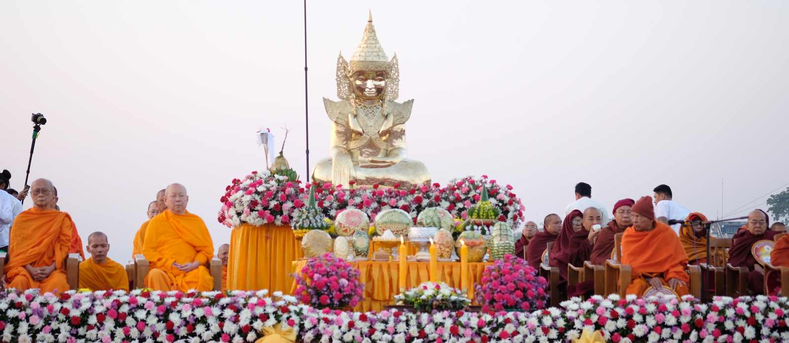 Alms Offering Ceremony to 20,000 Monks in Mandalay, Myanmar, January 2018