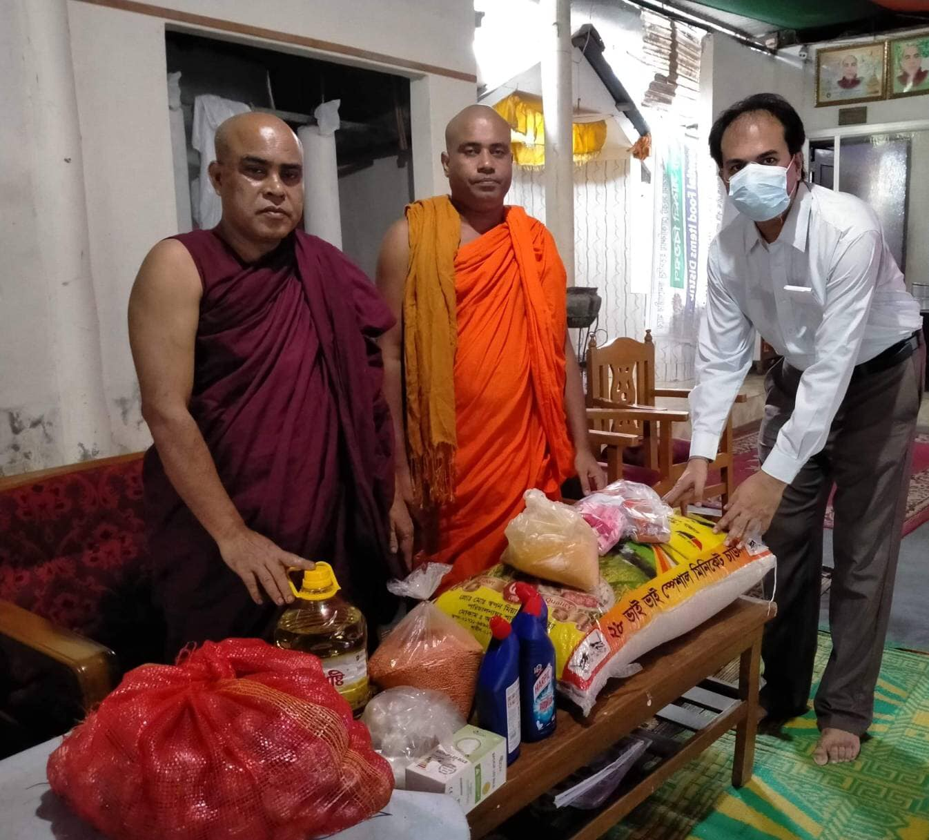 Dr. Sabuj Barua Vice President of World Alliance of Buddhists-WAB, offered some necessities to Temple