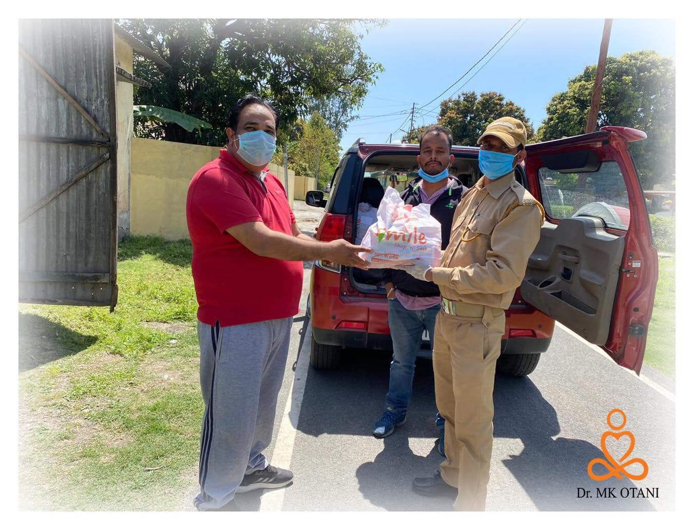Dr. MK Otani, WAB Advisor and team donated food to the affected people in COVID 19 pandemic